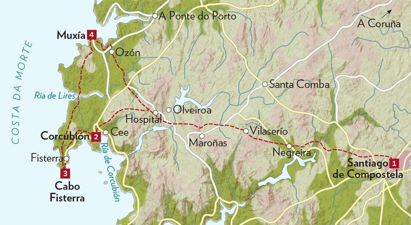 Mapa Santiago Fisterra